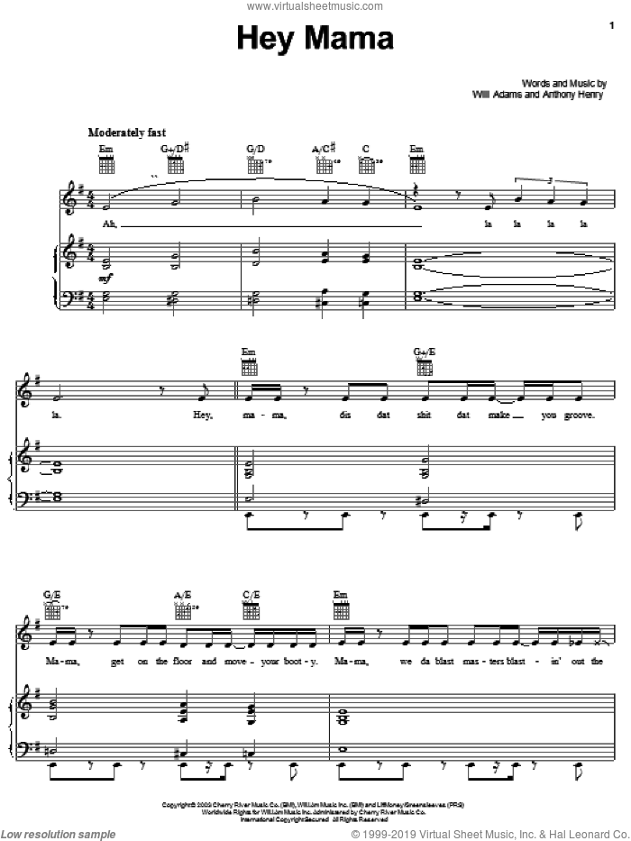 Hey Mama sheet music for voice, piano or guitar by Will Adams and Black Eyed Peas. Score Image Preview.