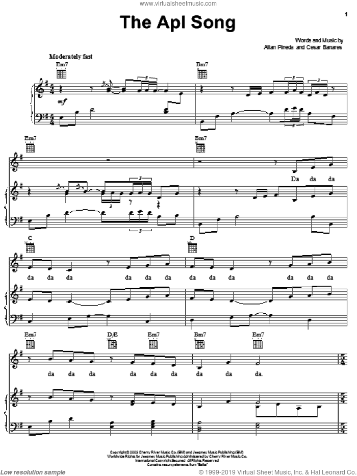 The Apl Song sheet music for voice, piano or guitar by Ceasar Banares