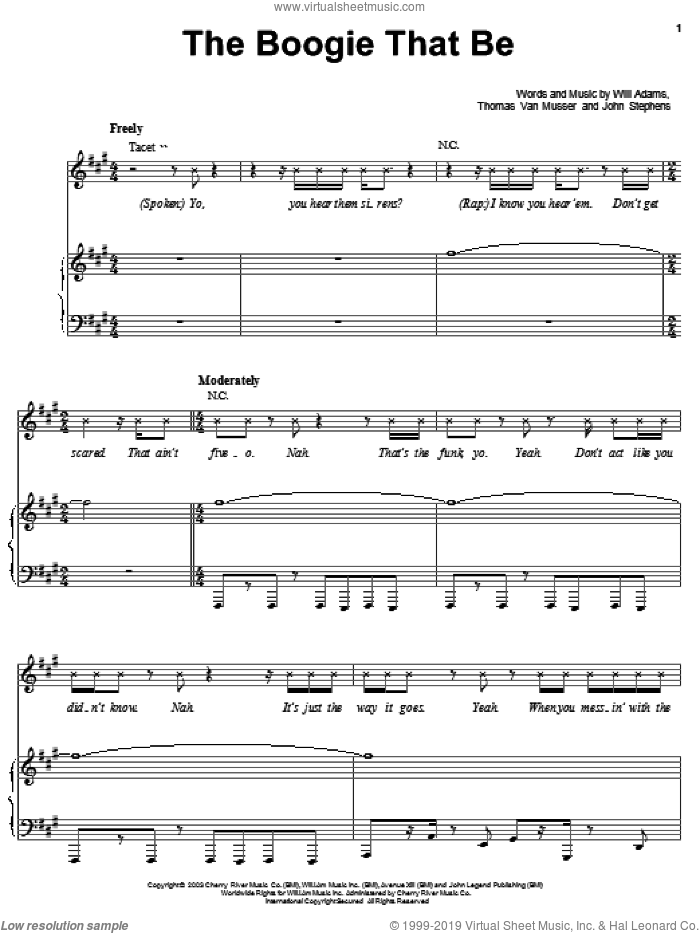 The Boogie That Be sheet music for voice, piano or guitar by Black Eyed Peas, John Stephens, Thomas Van Musser and Will Adams, intermediate skill level