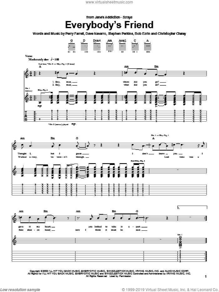 Everybody's Friend sheet music for guitar (tablature) by Jane's Addiction and Perry Farrell. Score Image Preview.