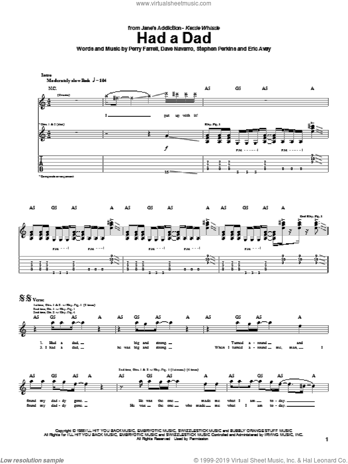 Had A Dad sheet music for guitar (tablature) by Jane's Addiction, Dave Navarro, Perry Farrell and Stephen Perkins, intermediate skill level