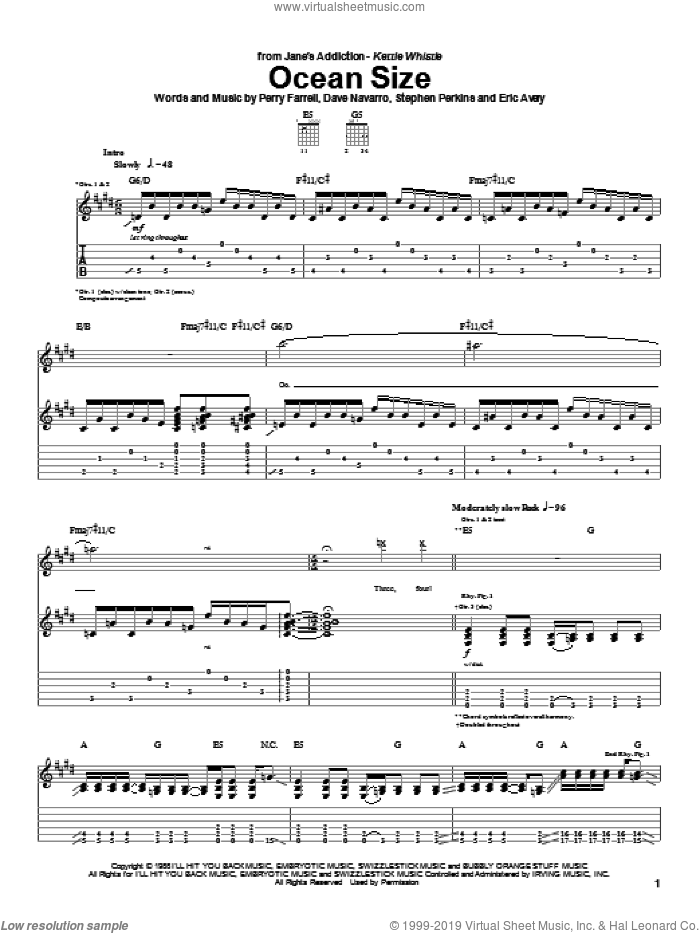 Ocean Size sheet music for guitar (tablature) by Jane's Addiction and Perry Farrell. Score Image Preview.