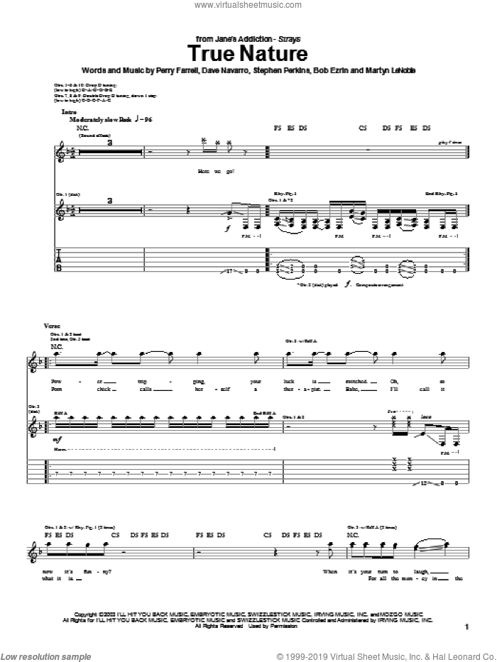 True Nature sheet music for guitar (tablature) by Jane's Addiction, Dave Navarro, Perry Farrell and Stephen Perkins, intermediate skill level