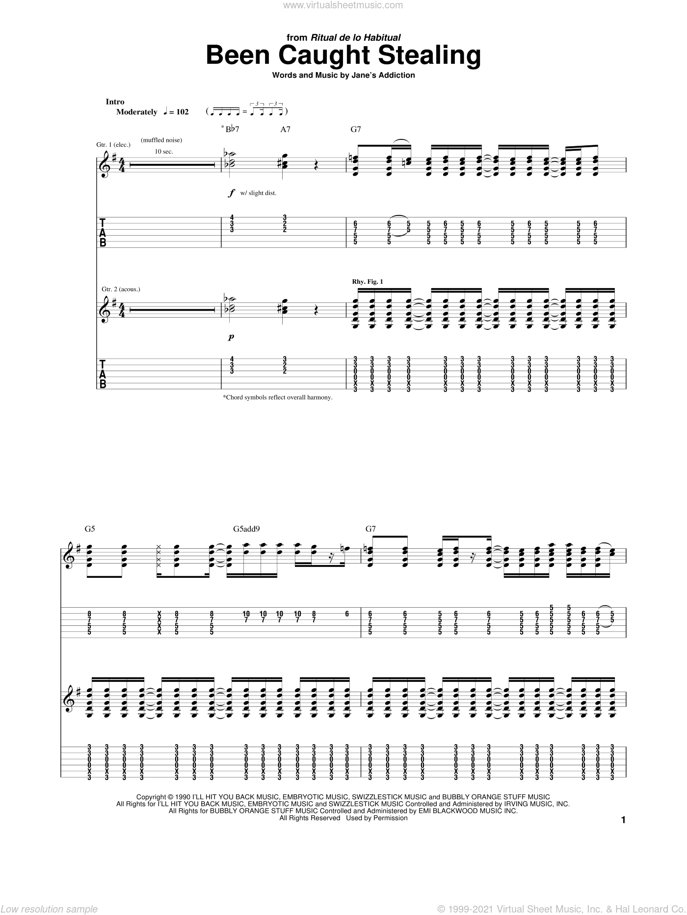Been Caught Stealing sheet music for guitar (tablature) by Jane's Addiction, Dave Navarro, Perry Farrell and Stephen Perkins, intermediate skill level