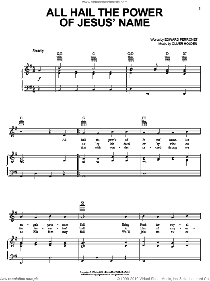 All Hail The Power Of Jesus' Name sheet music for voice, piano or guitar by Oliver Holden, Mahalia Jackson, Michael W. Smith and John Rippon
