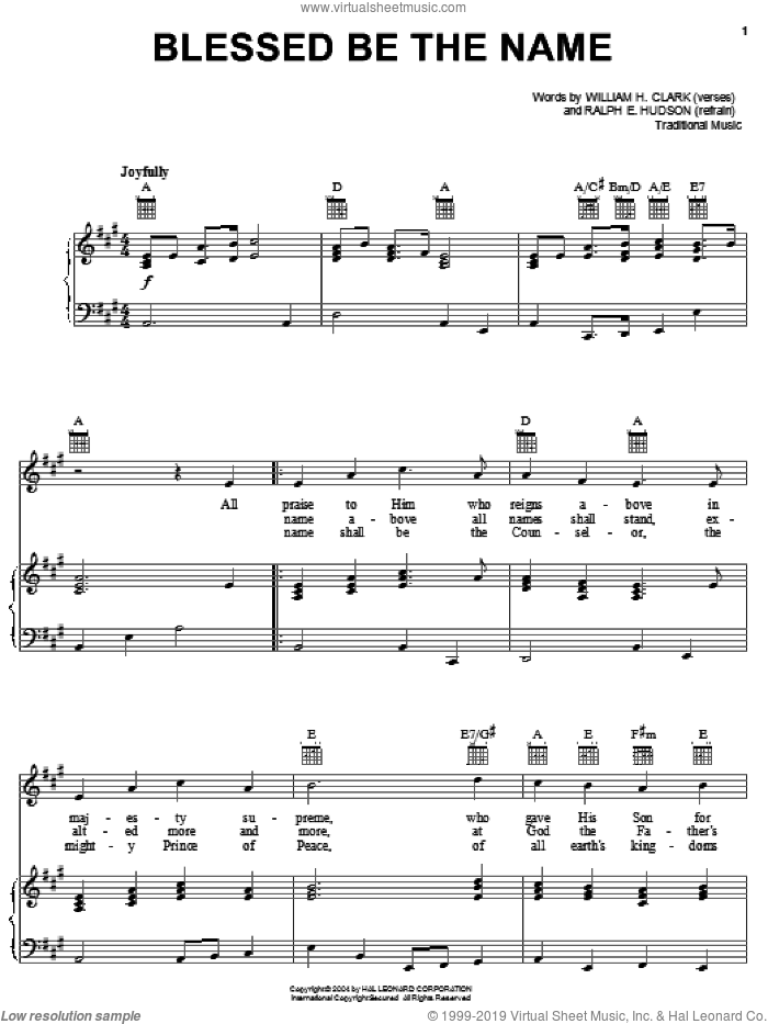 Blessed Be The Name sheet music for voice, piano or guitar by William J. Kirkpatrick and Ralph Hudson. Score Image Preview.