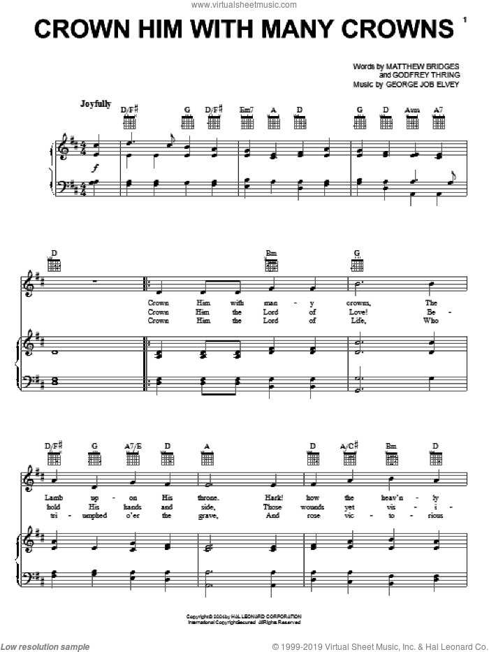 Crown Him With Many Crowns sheet music for voice, piano or guitar by Matthew Bridges, George Job Elvey and Godfrey Thring, intermediate skill level