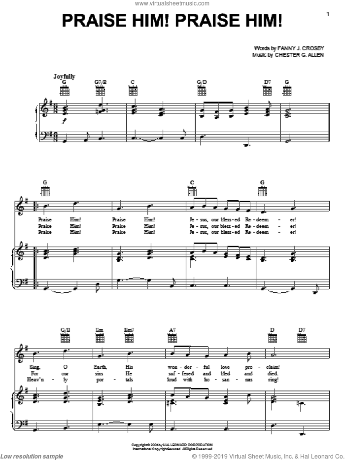 Praise Him! Praise Him! sheet music for voice, piano or guitar by Fanny J. Crosby and Chester G. Allen, intermediate. Score Image Preview.