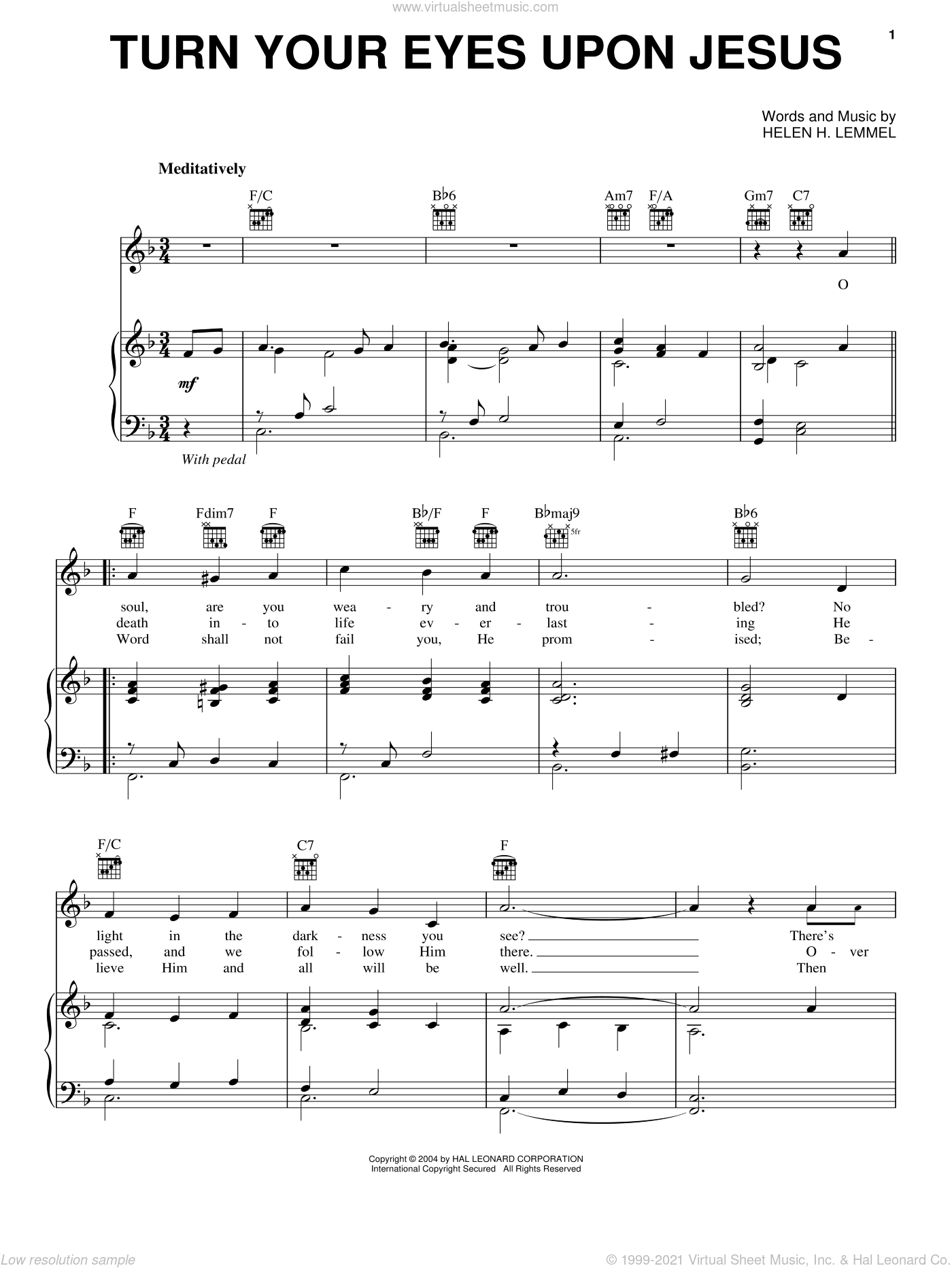 Turn Your Eyes Upon Jesus sheet music for voice, piano or guitar by Newsboys, Nathan DiGesare and Helen H. Lemmel, intermediate skill level