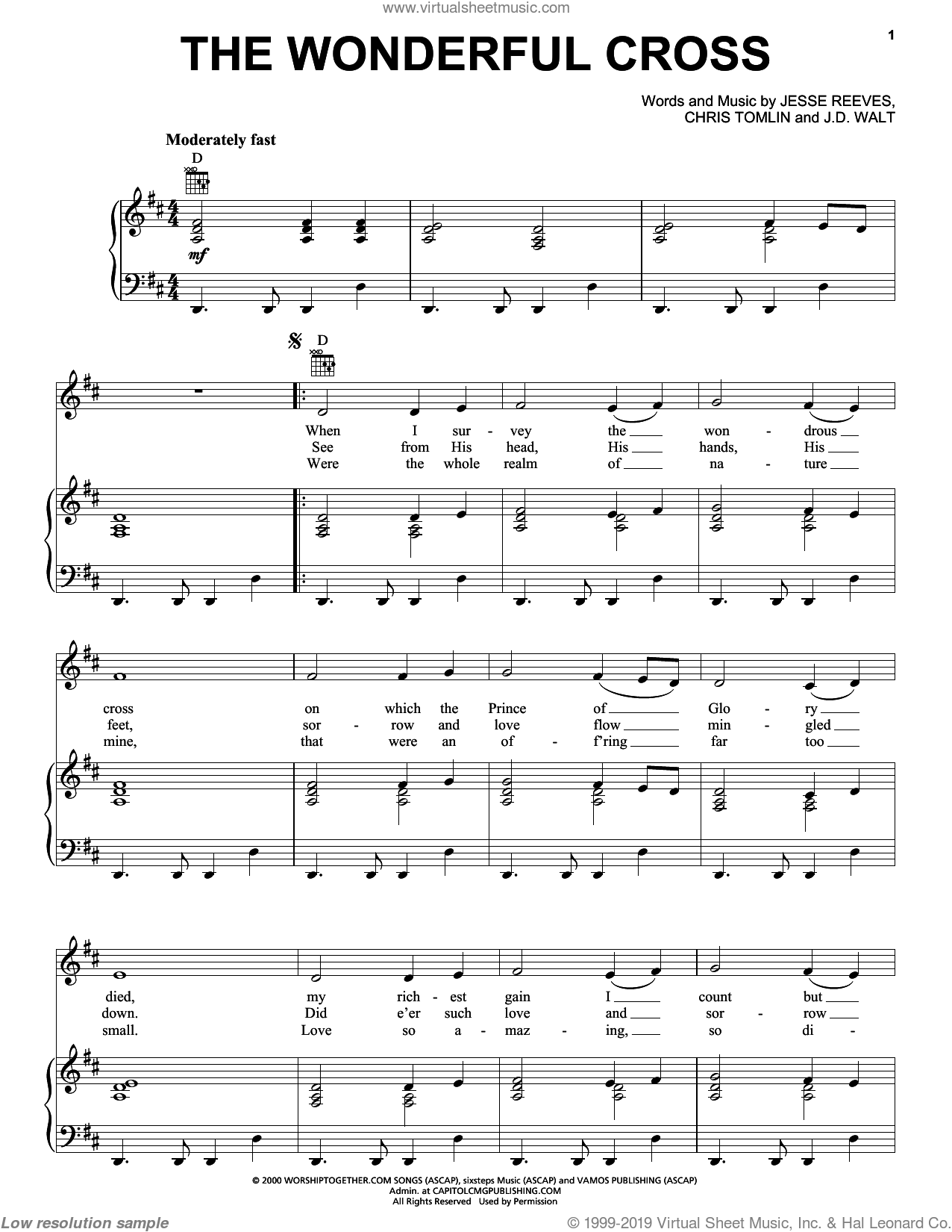 The Wonderful Cross sheet music for voice, piano or guitar by Chris Tomlin, Phillips, Craig & Dean, J.D. Walt and Jesse Reeves, intermediate skill level