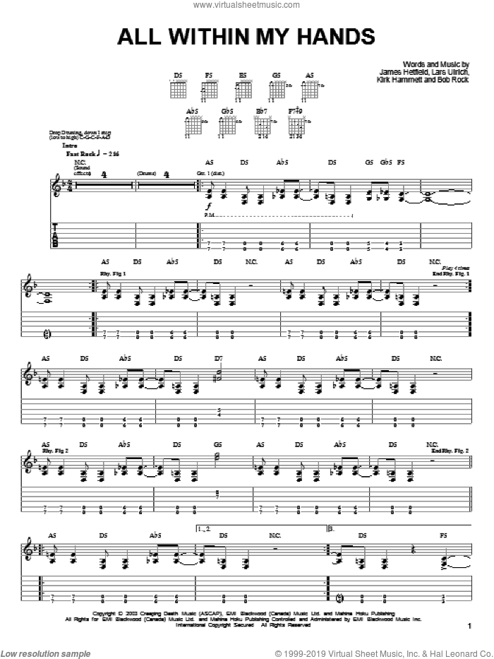 All Within My Hands sheet music for guitar solo (easy tablature) by Metallica, James Hetfield, Kirk Hammett and Lars Ulrich, easy guitar (easy tablature)