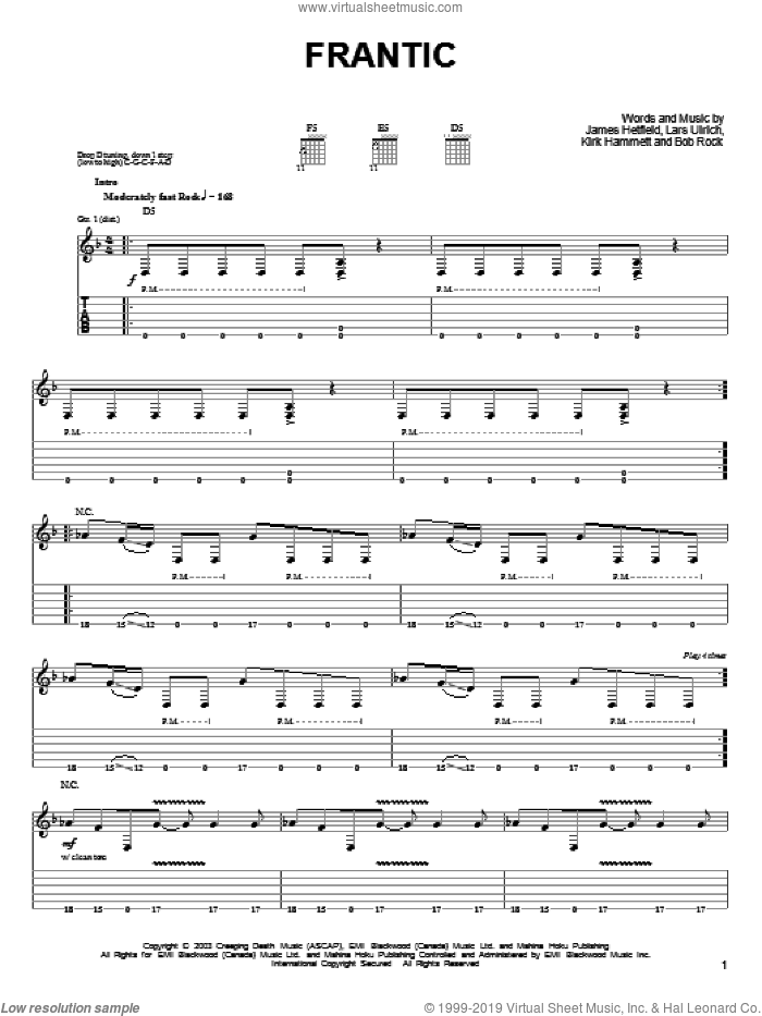 Frantic sheet music for guitar solo (easy tablature) by Lars Ulrich and James Hetfield. Score Image Preview.