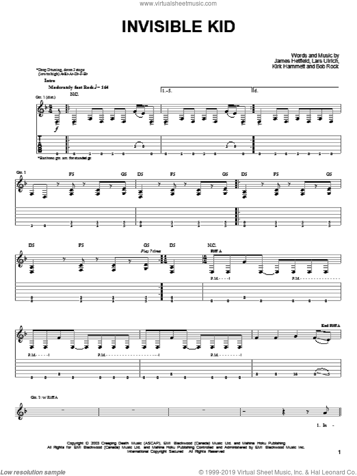 Invisible Kid sheet music for guitar solo (easy tablature) by Lars Ulrich, Metallica and James Hetfield. Score Image Preview.