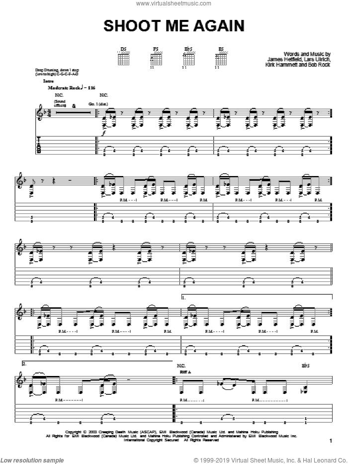 Shoot Me Again sheet music for guitar solo (easy tablature) by Metallica, James Hetfield, Kirk Hammett and Lars Ulrich, easy guitar (easy tablature)