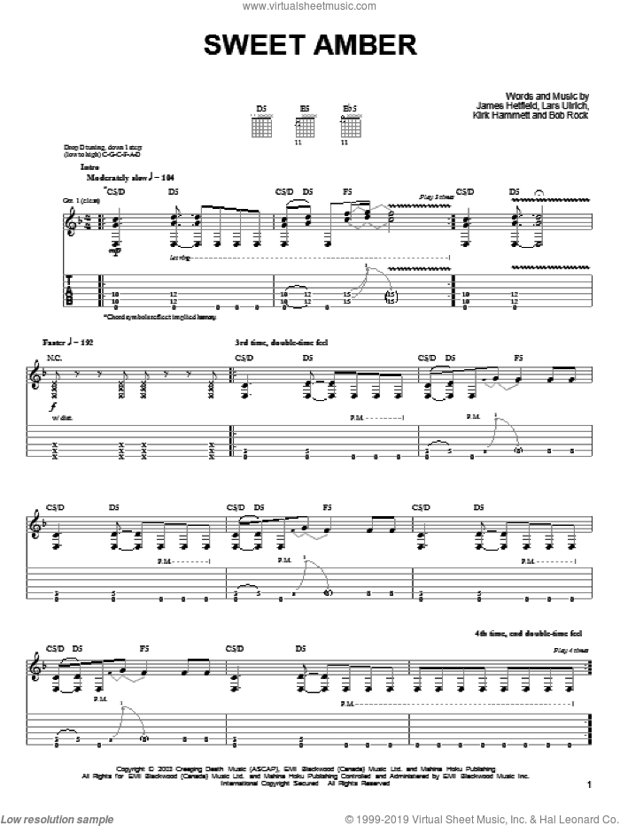 Sweet Amber sheet music for guitar solo (easy tablature) by Metallica, James Hetfield, Kirk Hammett and Lars Ulrich, easy guitar (easy tablature)