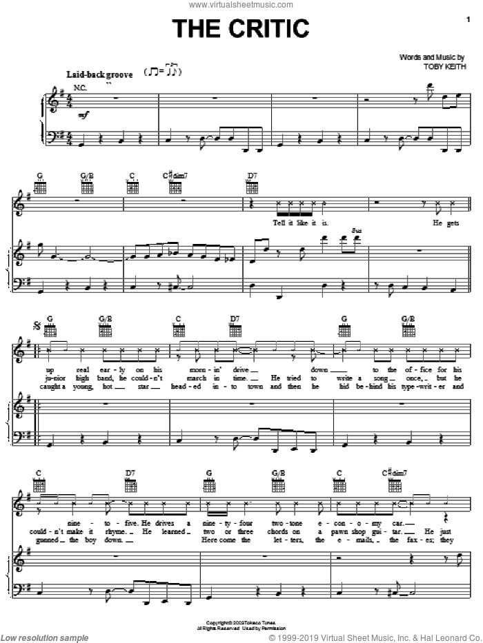 The Critic sheet music for voice, piano or guitar by Toby Keith, intermediate voice, piano or guitar. Score Image Preview.