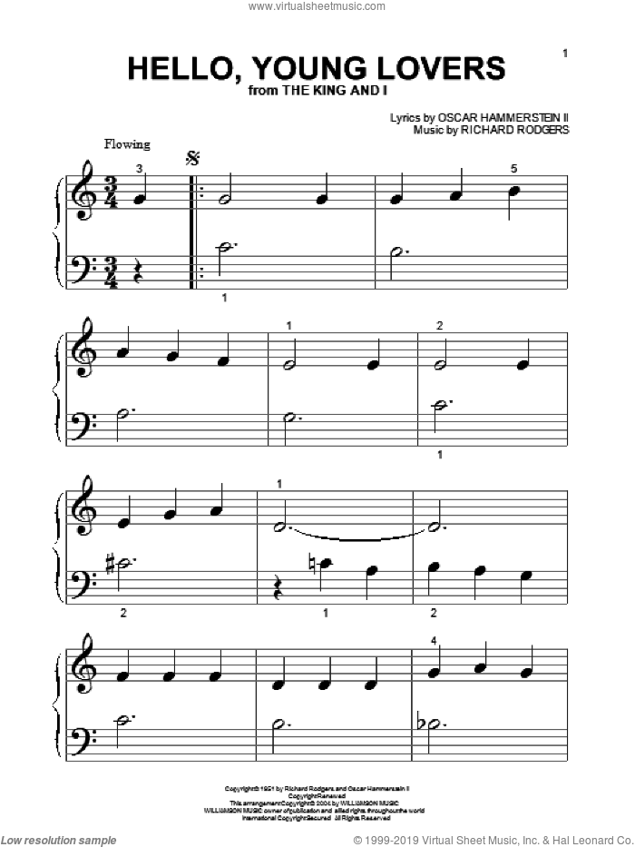 Hello, Young Lovers sheet music for piano solo (big note book) by Richard Rodgers