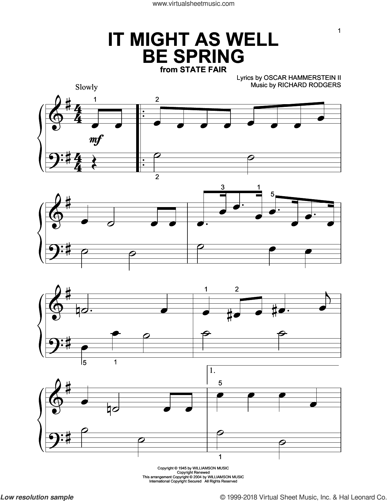 It Might As Well Be Spring sheet music for piano solo (big note book) by Rodgers & Hammerstein, State Fair (Musical), Oscar II Hammerstein and Richard Rodgers, easy piano (big note book)