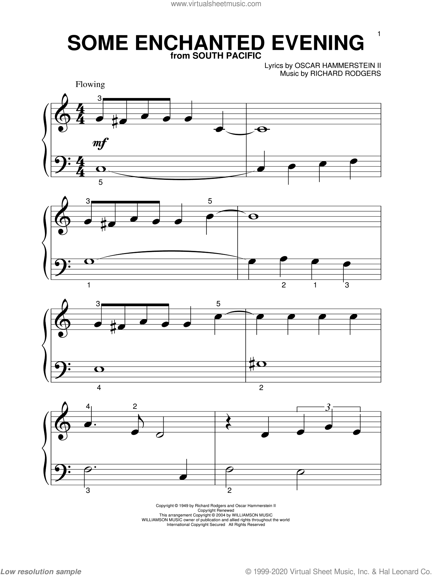 Some Enchanted Evening sheet music for piano solo (big note book) by Rodgers & Hammerstein, Oscar II Hammerstein and Richard Rodgers, easy piano (big note book). Score Image Preview.