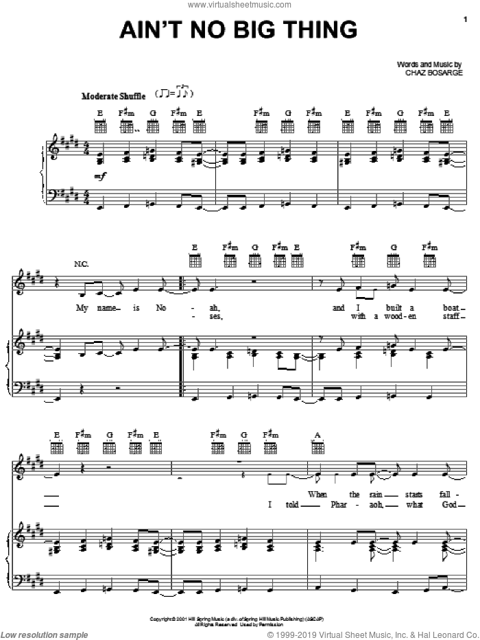 Ain't No Big Thing sheet music for voice, piano or guitar by Chaz Bosarge, intermediate skill level