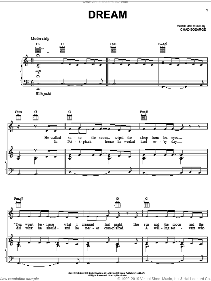 Dream sheet music for voice, piano or guitar by Chaz Bosarge. Score Image Preview.