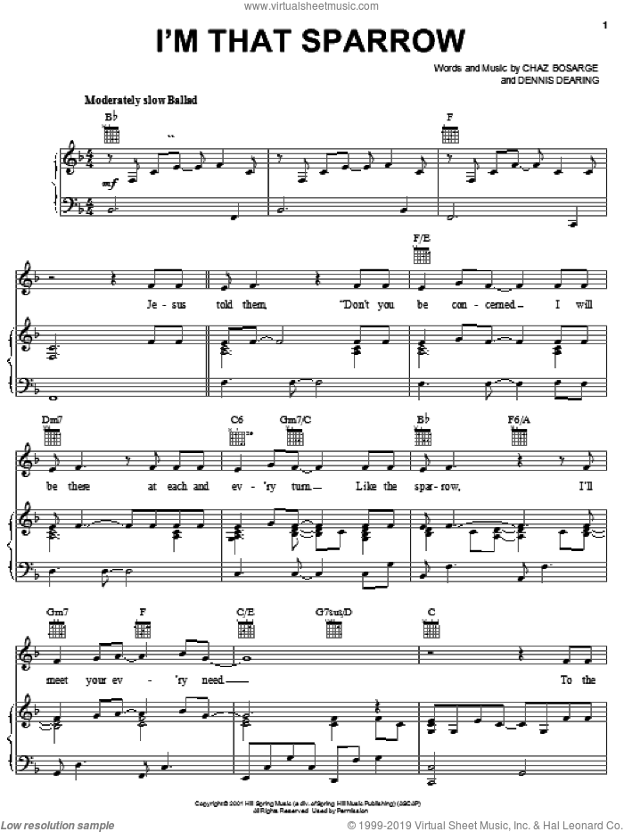 I'm That Sparrow sheet music for voice, piano or guitar by Chaz Bosarge. Score Image Preview.