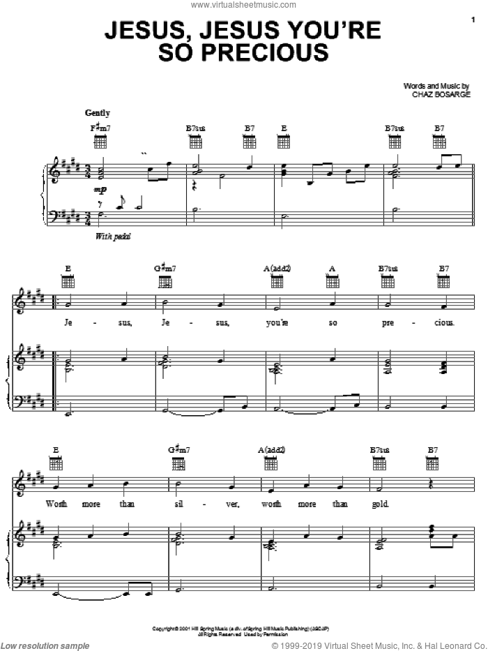 Jesus, Jesus You're So Precious sheet music for voice, piano or guitar by Chaz Bosarge, intermediate voice, piano or guitar. Score Image Preview.