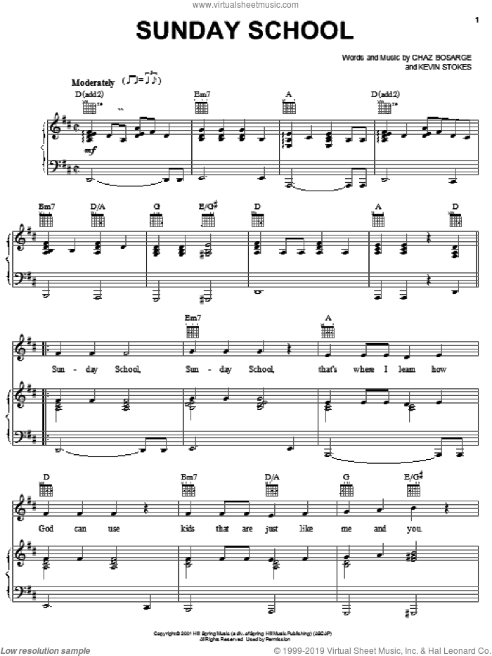 Sunday School sheet music for voice, piano or guitar by Chaz Bosarge and Kevin Stokes, intermediate skill level