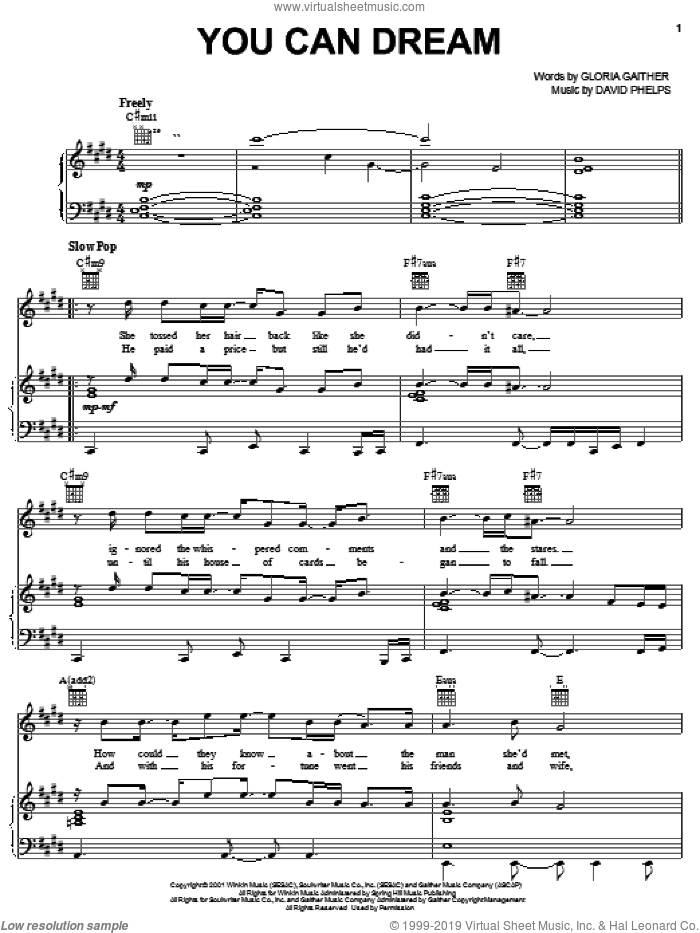 You Can Dream sheet music for voice, piano or guitar by Gloria Gaither and David Phelps. Score Image Preview.