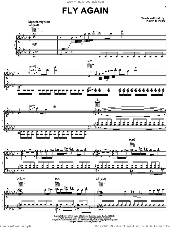 Fly Again sheet music for voice, piano or guitar by David Phelps, intermediate skill level
