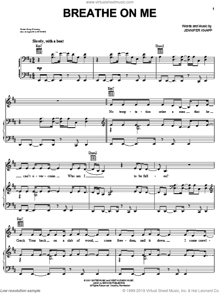 Breathe On Me sheet music for voice, piano or guitar by Jennifer Knapp, intermediate skill level