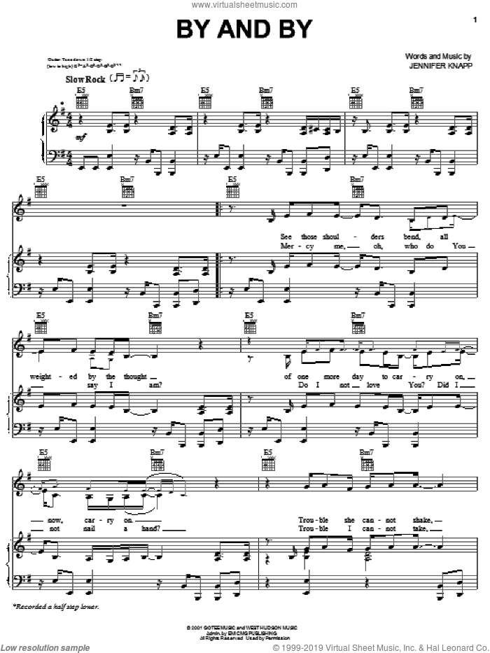By And By sheet music for voice, piano or guitar by Jennifer Knapp, intermediate skill level