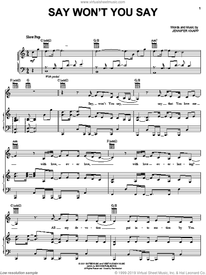 Say Won't You Say sheet music for voice, piano or guitar by Jennifer Knapp, intermediate skill level