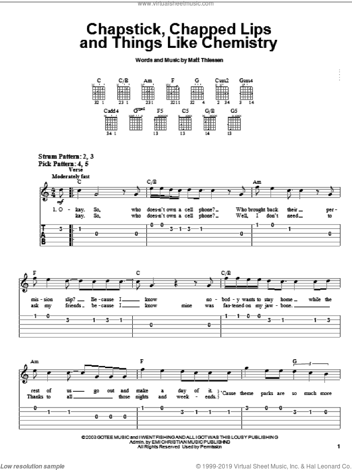 Chapstick, Chapped Lips And Things Like Chemistry sheet music for guitar solo (easy tablature) by Relient K and Matt Theissen, easy guitar (easy tablature)
