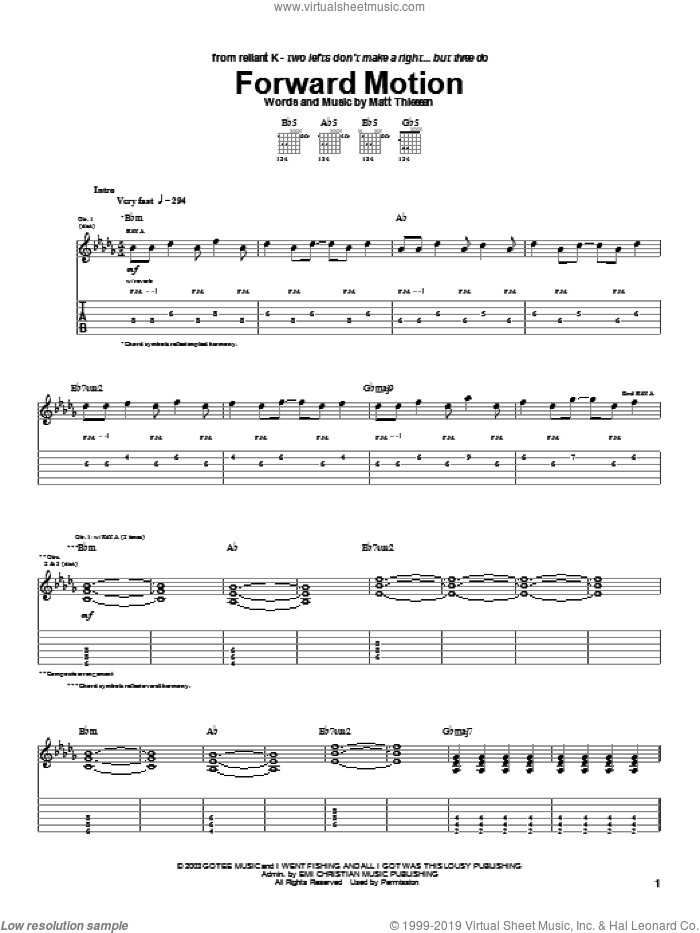Forward Motion sheet music for guitar (tablature) by Relient K and Matt Theissen, intermediate skill level