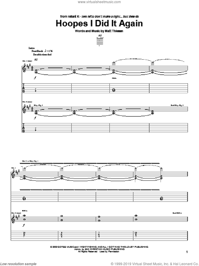 Hoopes I Did It Again sheet music for guitar (tablature) by Relient K and Matt Theissen, intermediate skill level