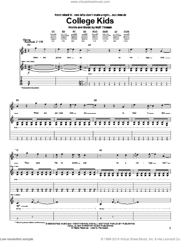 College Kids sheet music for guitar (tablature) by Relient K and Matt Theissen, intermediate skill level