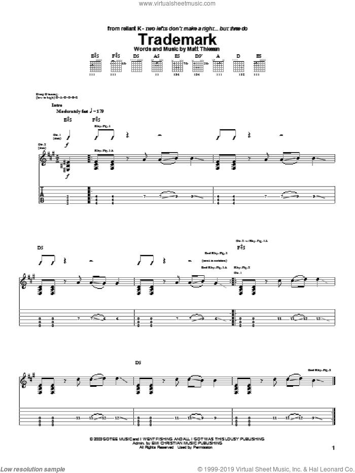 Trademark sheet music for guitar (tablature) by Relient K and Matt Theissen, intermediate skill level