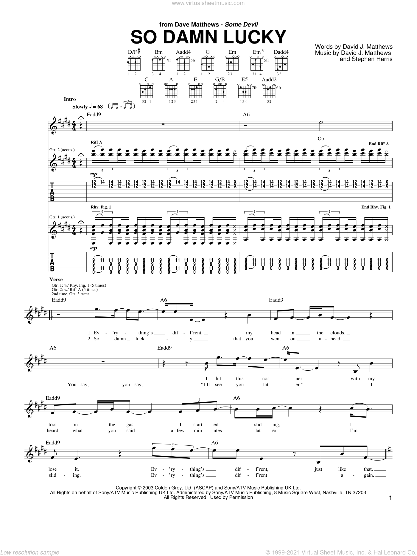So Damn Lucky sheet music for guitar (tablature) by Steve Harris, Dave Matthews and David Matthews. Score Image Preview.