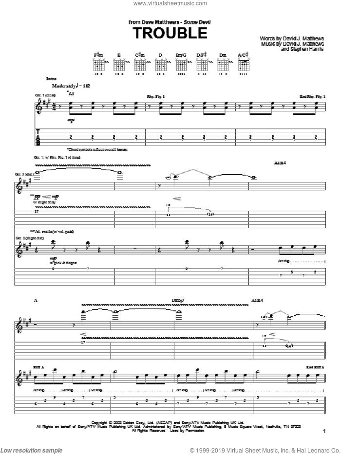 Trouble sheet music for guitar (tablature) by Dave Matthews, David Matthews and Steve Harris, intermediate skill level