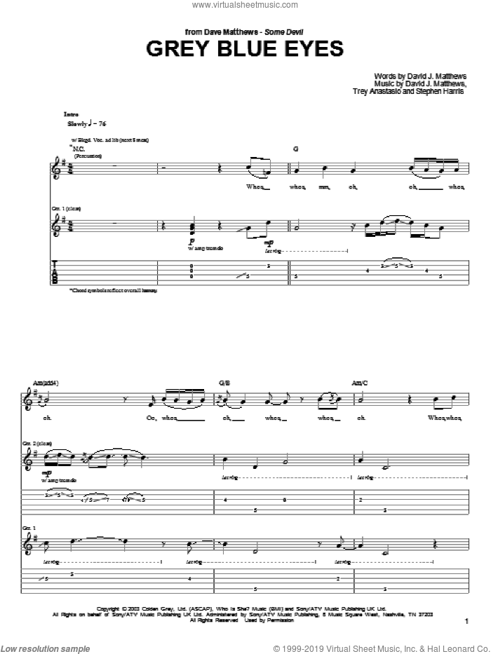 Grey Blue Eyes sheet music for guitar (tablature) by Trey Anastasio, Dave Matthews, David Matthews and Steve Harris. Score Image Preview.