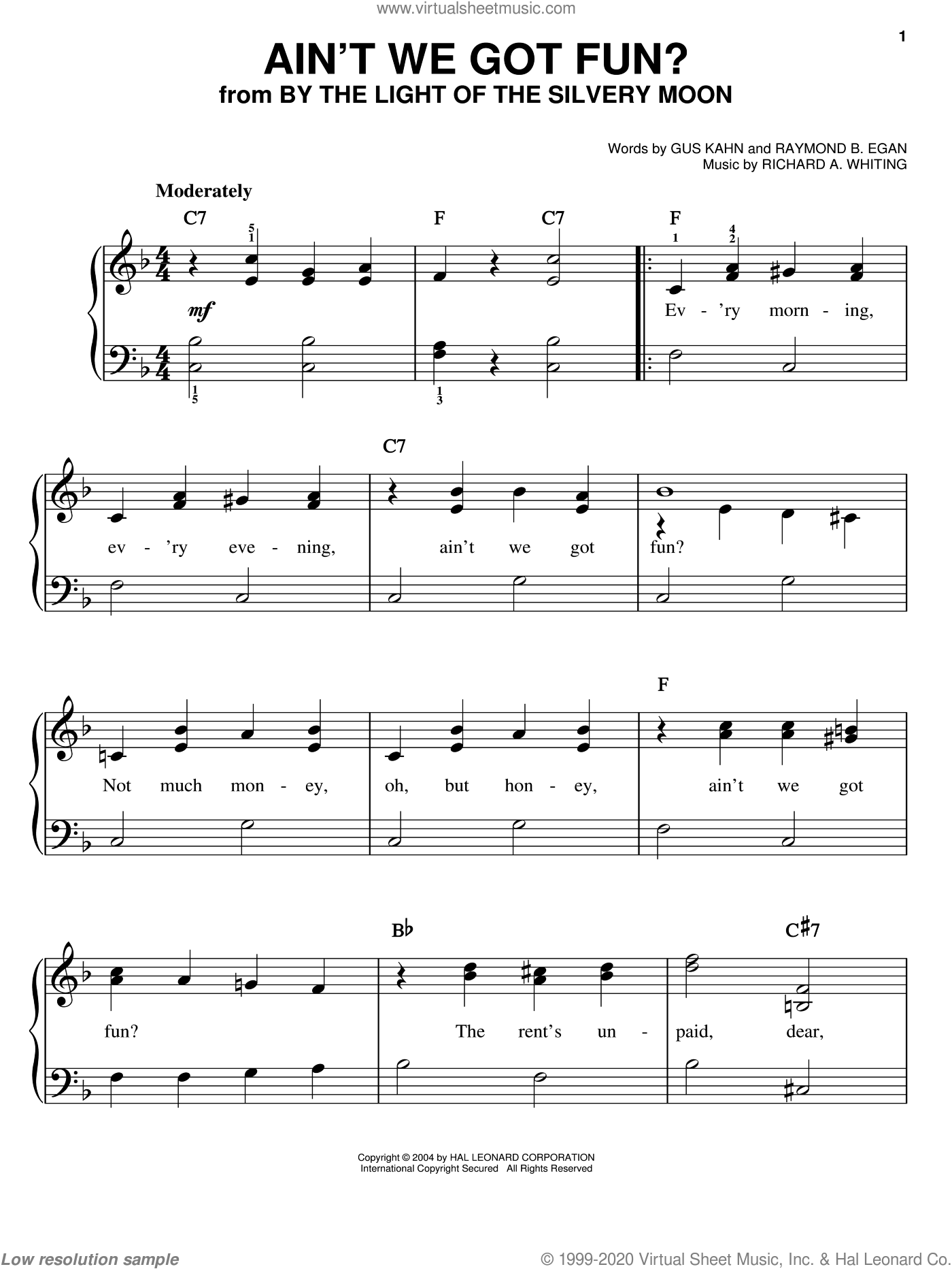 Ain't We Got Fun? sheet music for piano solo (chords) by Richard A. Whiting