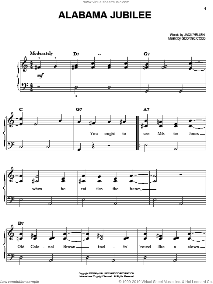 Alabama Jubilee sheet music for piano solo by Jerry Reed, Ferco String Band, Leon Redbone, George L. Cobb and Jack Yellen, easy skill level