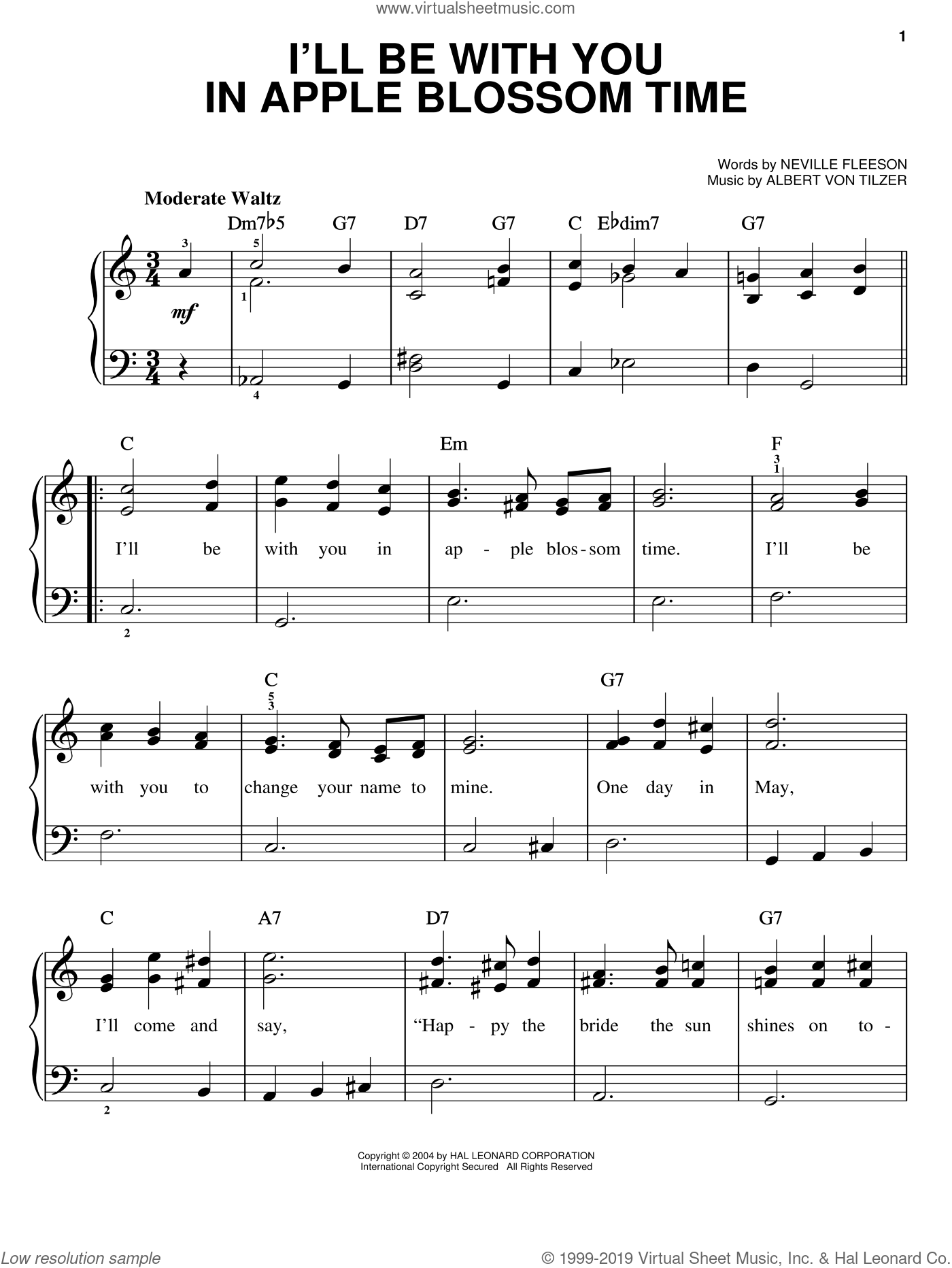 I'll Be With You In Apple Blossom Time sheet music for piano solo by Neville Fleeson and Albert von Tilzer, easy skill level