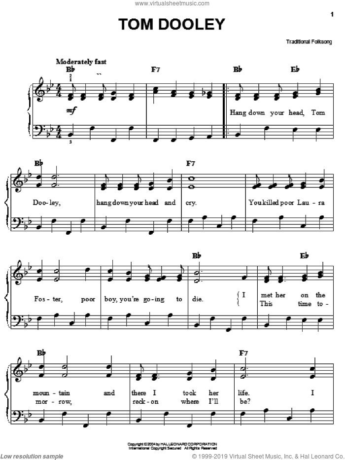Tom Dooley sheet music for piano solo, easy skill level