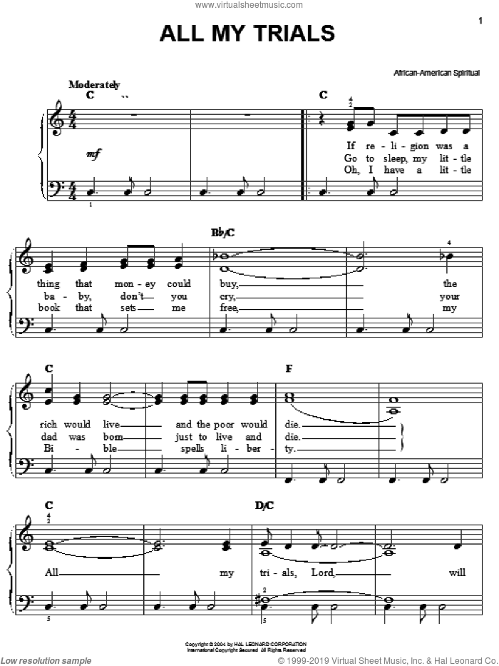 All My Trials, (easy) sheet music for piano solo, easy skill level