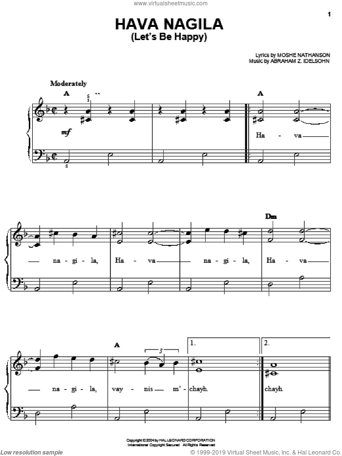 Hava Nagila (Let's Be Happy) sheet music for piano solo by Abraham Z. Idelsohn and Moshe Nathanson. Score Image Preview.