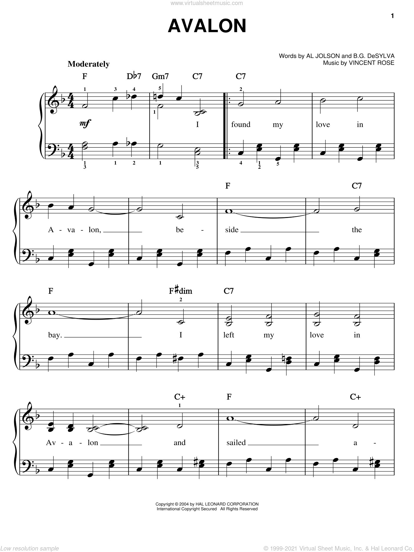Avalon sheet music for piano solo (chords) by Vincent Rose