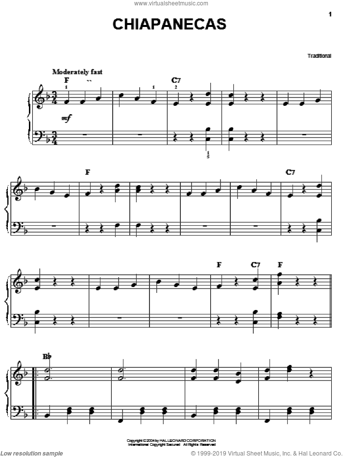 Chiapanecas sheet music for piano solo, easy piano. Score Image Preview.