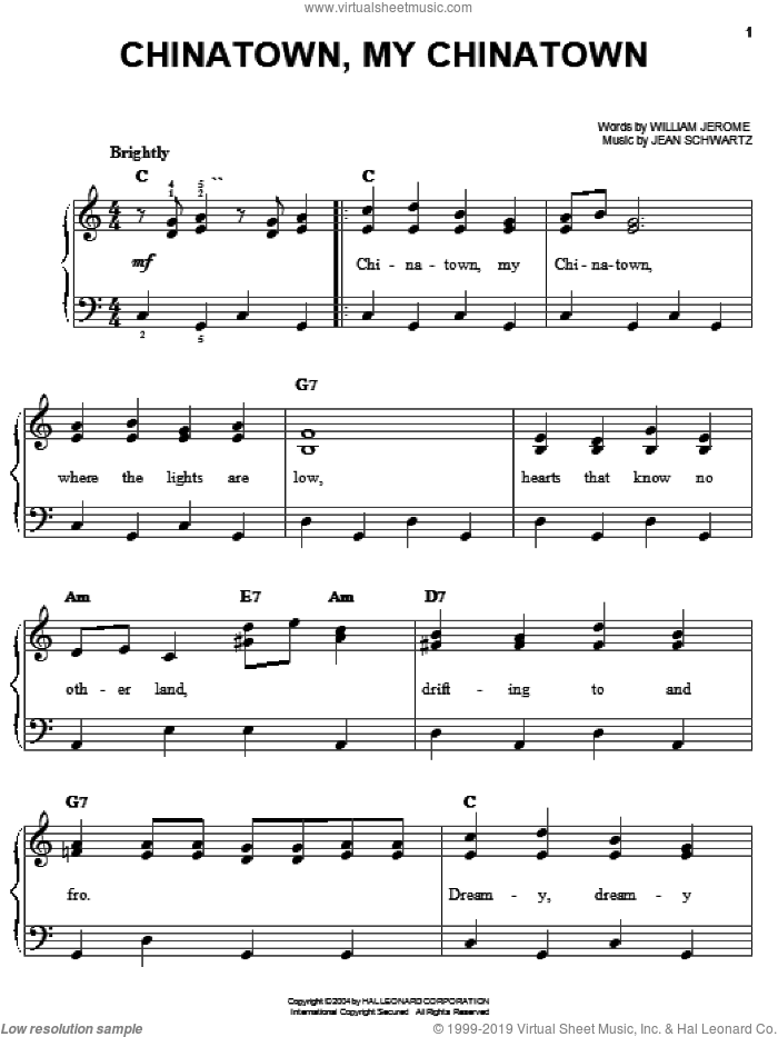 Chinatown, My Chinatown sheet music for piano solo by Louis Armstrong, Al Jolson, Louis Prima, Jean Schwartz and William Jerome, easy skill level